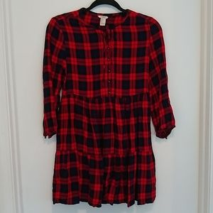 Forever 21 blue and red plaid flannel mini dress